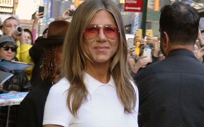 Jennifer Aniston, good morning america, sunglasses, white dress, celebrity style, nyc