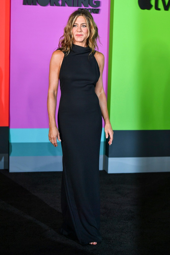 Jennifer Aniston', james galanos dress, black gown, black sandals, celebrity style, red carpet, The Morning Show' TV show premiere, Arrivals, Lincoln Center's David Geffen Hall, New York, USA - 28 Oct 2019Wearing James Galanos