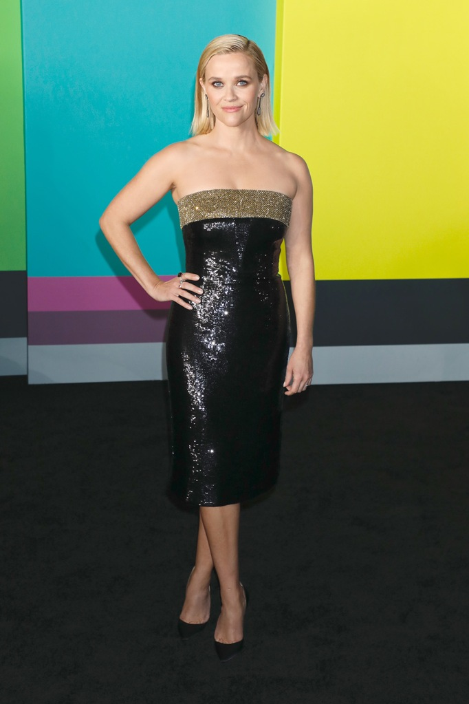 Reese Witherspoon, celine dress, sparkly dress, legs, celebrity style, christian louboutin, stilettos, black pumps, 'The Morning Show' TV show premiere, Arrivals, Lincoln Center's David Geffen Hall, New York, USA - 28 Oct 2019Wearing Celine