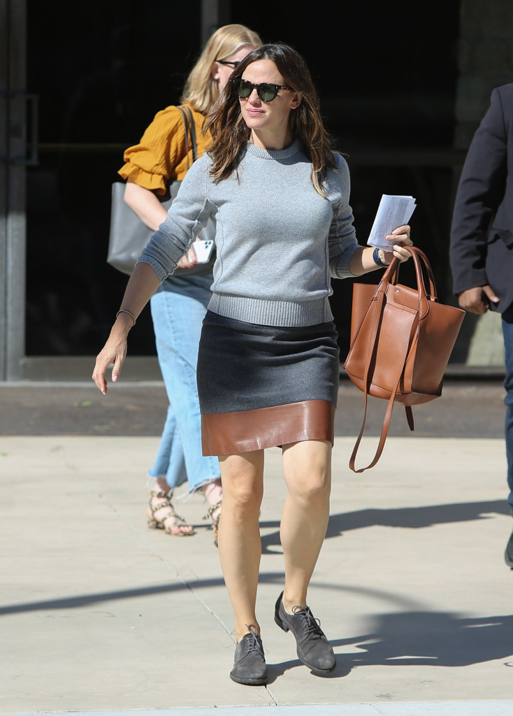Jennifer Garner, celebrity style, brown purse, leather skirt, sweater, brogues, la, Jennifer Garner out and about, Los Angeles, USA - 20 Oct 2019