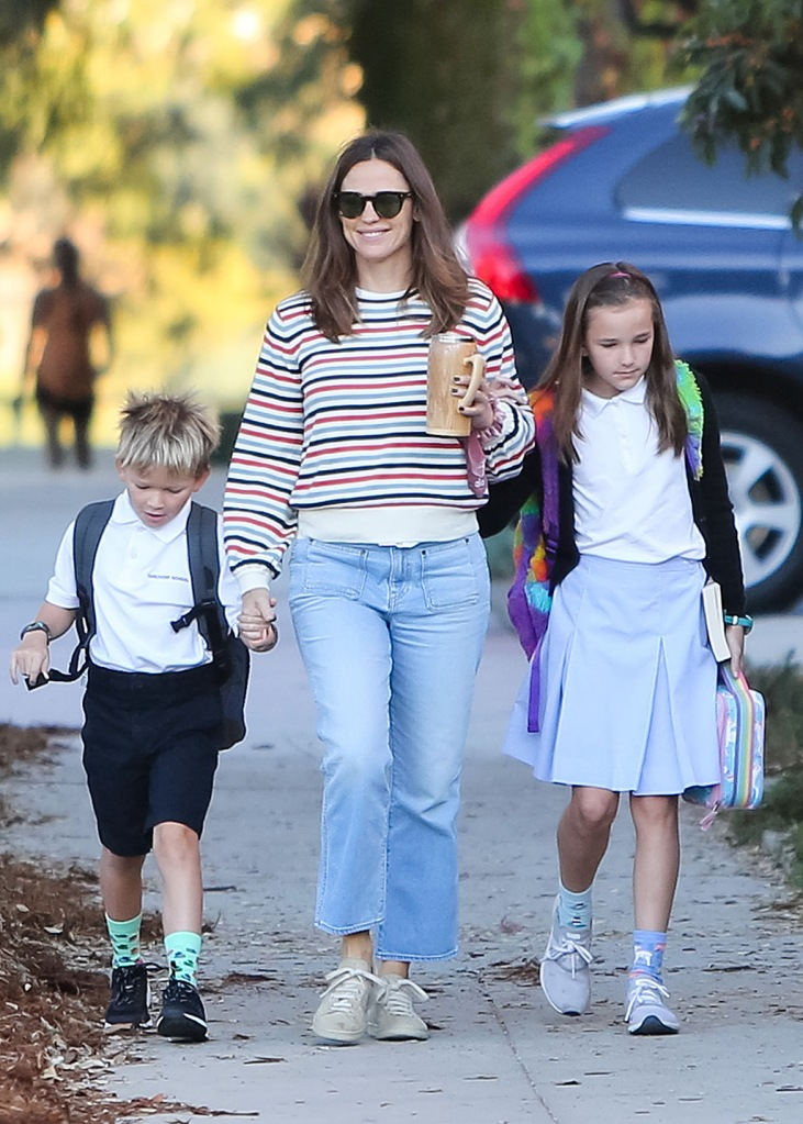 Jennifer Garner, mom jeans, brunello cucinelli shoes, tan sneakers, striped sweater, sunglasses, samuel affleck, seraphina affleck, Samuel Garner and Seraphina GarnerJennifer Garner out and about, Los Angeles, USA - 22 Oct 2019