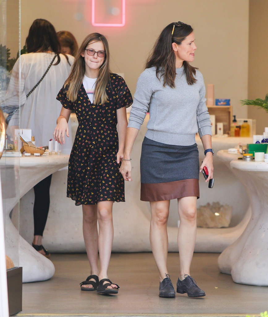 Violet Affleck, birkenstock sandals, floral dress, glasses, jennifer garner, pencil skirt, gray brogues, sweater, legs, and Jennifer GarnerJennifer Garner out and about, Los Angeles, USA - 20 Oct 2019