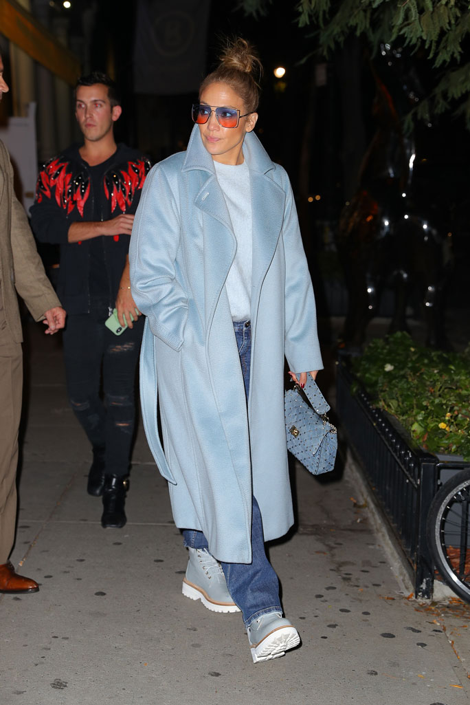 Jennifer Lopez, max mara coat, Buscemi boots, celebrity style, street style, nyc, jeans, Valentino purse, sunglasses