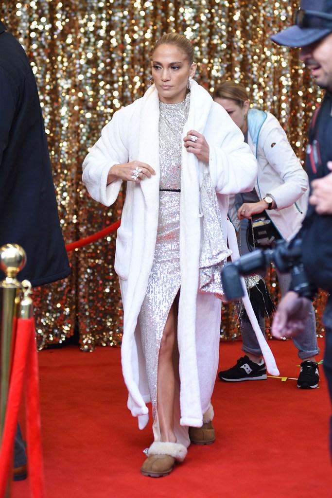 Jennifer Lopez, michael costello, silver dress, bathrobe, ugg slippers, 'Marry Me' on set filming, New York, USA - 22 Oct 2019Wearing Michael Costello, Custom