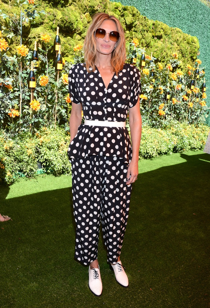 Julia Roberts, Michael Kors jumpsuit, polka dots, the office of Angela Scott, white shoes, celebrity style, Veuve Clicquot Polo Classic, Arrivals, Will Rogers State Historic Park, Los Angeles, USA - 05 Oct 2019