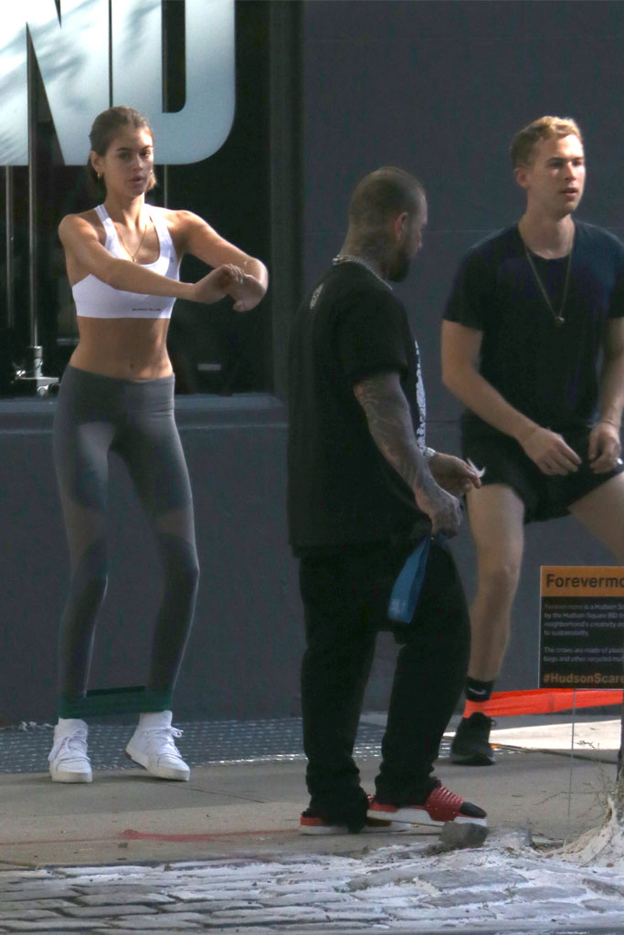 Kaia Gerber, Ryan Shaver, NYC, working out