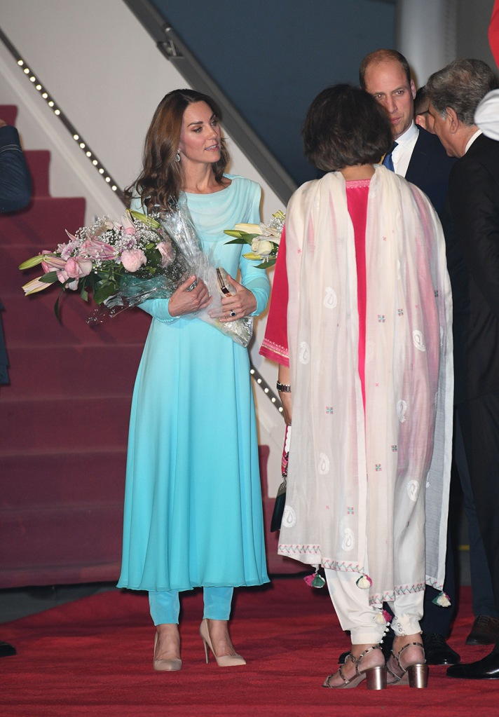 Kate Middleton, Rupert Sanderson shoes, nude pumps, stilettos, blue dress, pants, Catherine walker, Catherine Duchess of CambridgeThe Duke and Duchess of Cambridge visit Pakistan - 14 Oct 2019