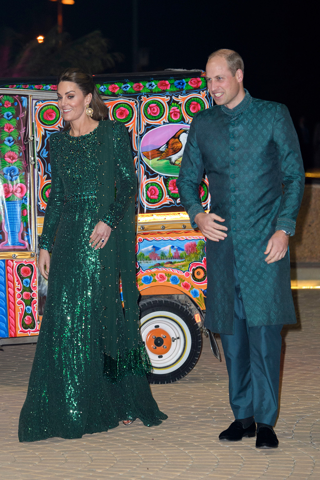 Prince William, sherwani, Pakistani traditional outfit, celebrity style, British royals, Kate Middleton, Jenny Packham dress, green gown, silver sandals, and Catherine Duchess of Cambridge during a reception hosted by the British High Commissioner to Pakistan in IslamabadPrince William and Catherine Duchess of Cambridge visit to Pakistan - 15 Oct 2019