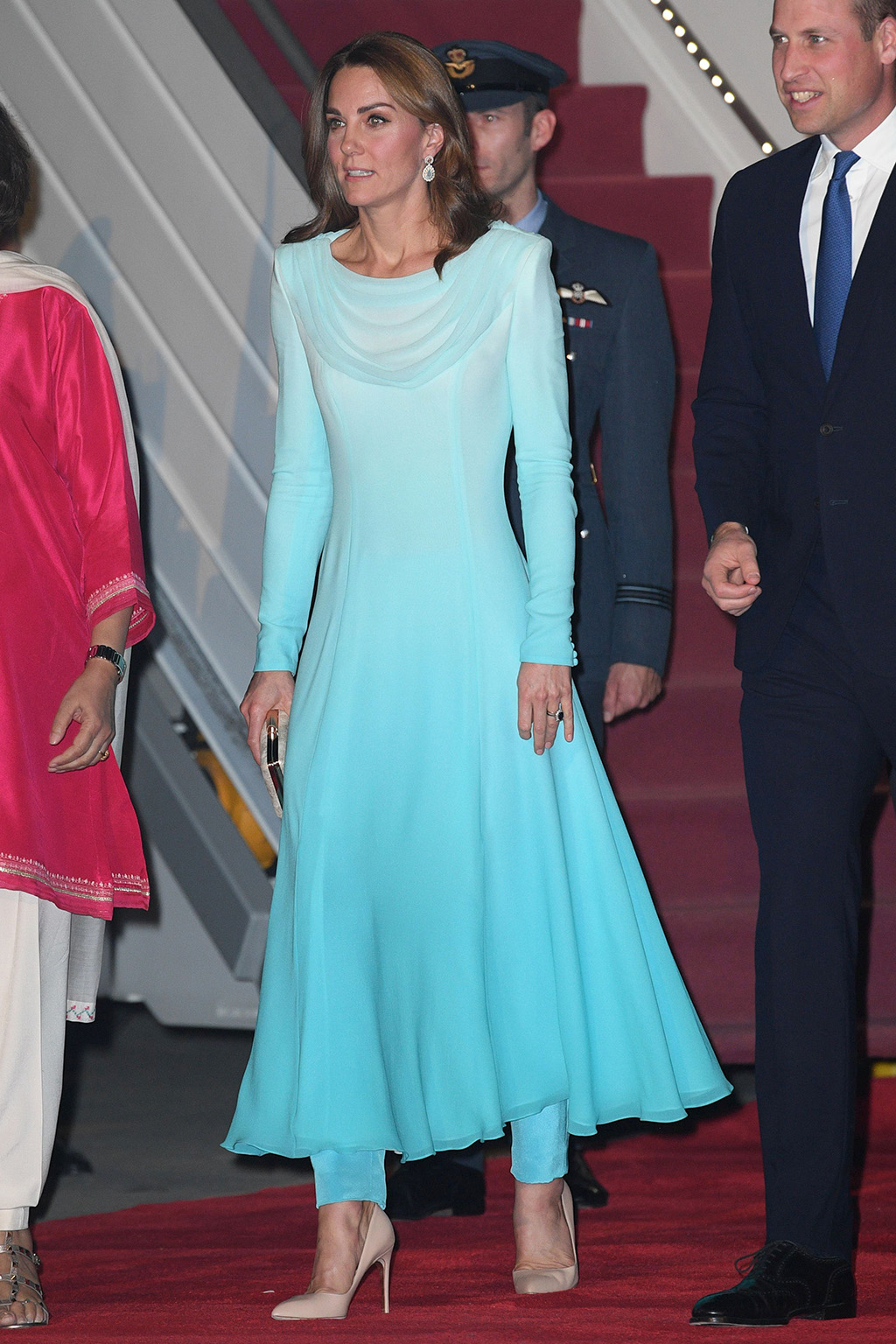 Kate Middleton, Rupert Sanderson shoes, nude pumps, stilettos, blue dress, pants, Catherine walker, Catherine Duchess of CambridgeThe Duke and Duchess of Cambridge visit Pakistan - 14 Oct 2019