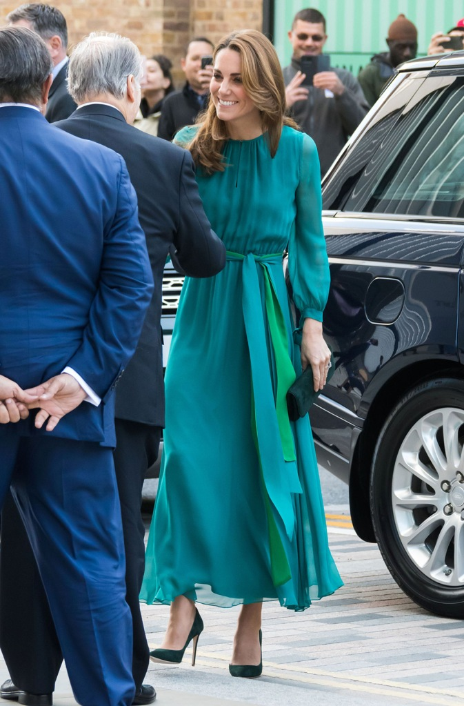 Kate Middleton, ARoss Girl x Soler dress, teal dress, emmy London shoes, court shoes, stilettos, celebrity style, emmy London clutch, Catherine Duchess of CambridgePrince William and Catherine Duchess of Cambridge visit to the Aga Khan Centre, London, UK - 02 Oct 2019Catherine Duchess of Cambridge attends a special event hosted by His Highness The Aga Khan at the Aga Khan Centre in London, ahead of Their Royal HighnessesÕ official visit to Pakistan Wearing Zeen (Pakistani Designer)