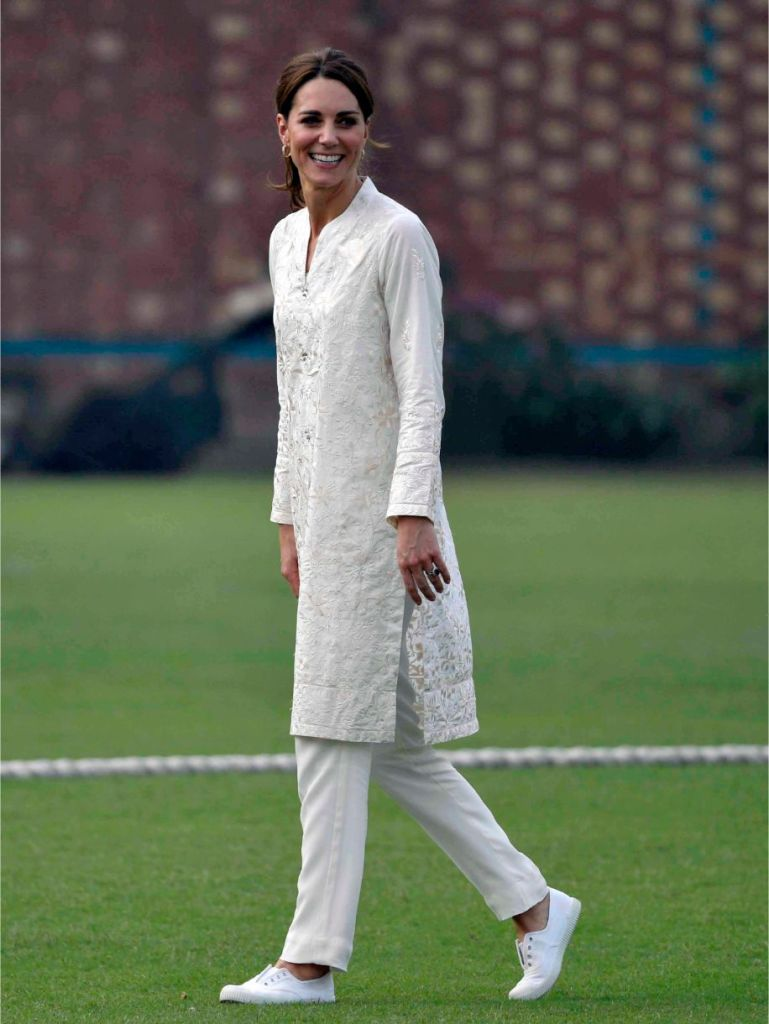 hampton canvas sneakers, lahore, pakistan, kate middtleton, duchess of cambridge, duchess, all white, shalwar kameez by Gul Ahmed