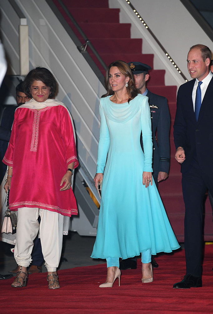Kate Middleton, blue outfit, Catherine walker outfit, Rupert Sanderson shoes, nude pumps, stilettos, Catherine Duchess of Cambridge, Prince WilliamThe Duke and Duchess of Cambridge visit Pakistan - 14 Oct 2019