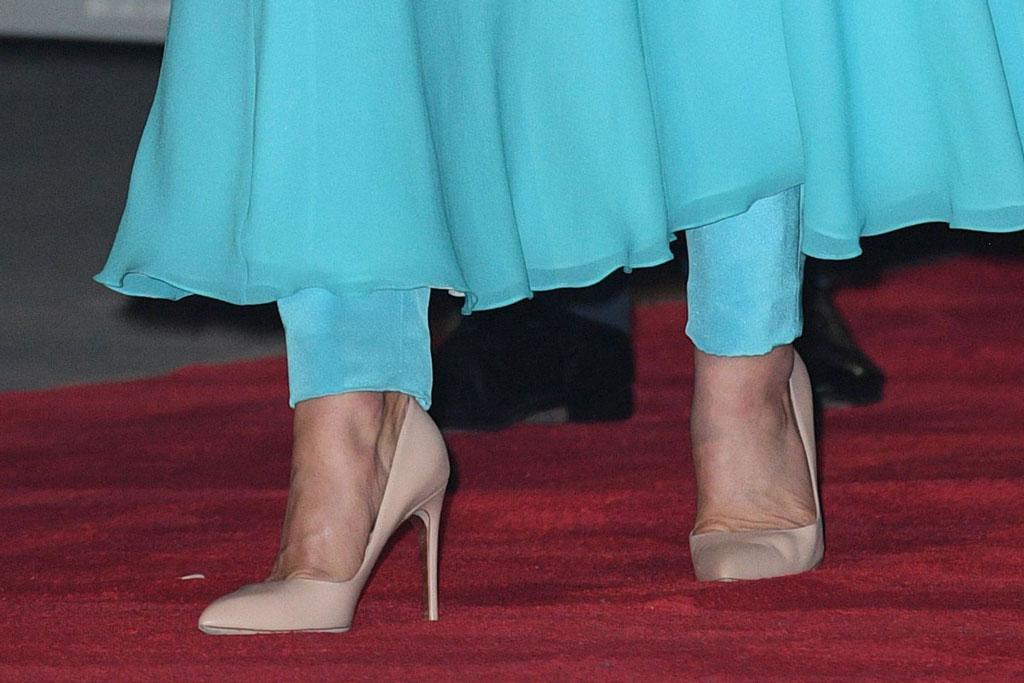 Kate Middleton, feet, shoe detail, Rupert Sanderson shoes, nude pumps, stilettos, blue dress, pants, Catherine walker, Catherine Duchess of CambridgeThe Duke and Duchess of Cambridge visit Pakistan - 14 Oct 2019