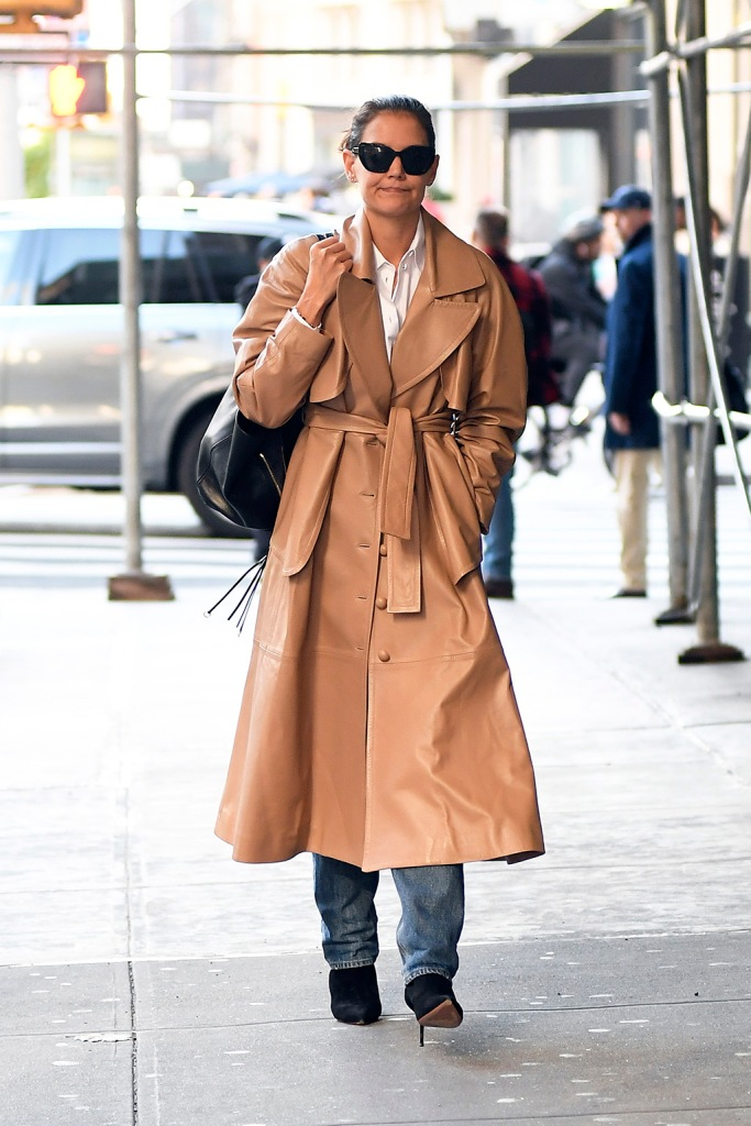 Katie Holmes, leather trench coat, zimmermann, celebrity style, nyc, black boots, stilettos, shoe style, n goes for a walk this morning in New York CityPictured: Katie HolmesRef: SPL5123618 211019 NON-EXCLUSIVEPicture by: Elder Ordonez / SplashNews.comSplash News and PicturesLos Angeles: 310-821-2666New York: 212-619-2666London: +44 (0)20 7644 7656Berlin: +49 175 3764 166photodesk@splashnews.comWorld Rights, No Portugal Rights