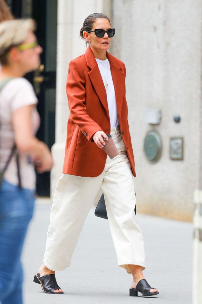 Katie Holmes, celebrity style, acne studios, mom mules, white pants, burnt orange blazer, street style, sunglasses