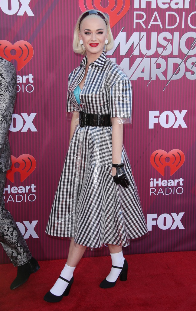 Katy Perry, mary janes, celeb style, red carpet, iHeartRadio Music Awards, Arrivals, Microsoft Theater, Los Angeles, USA - 14 Mar 2019Wearing Paskal, Shoes By Own Collection