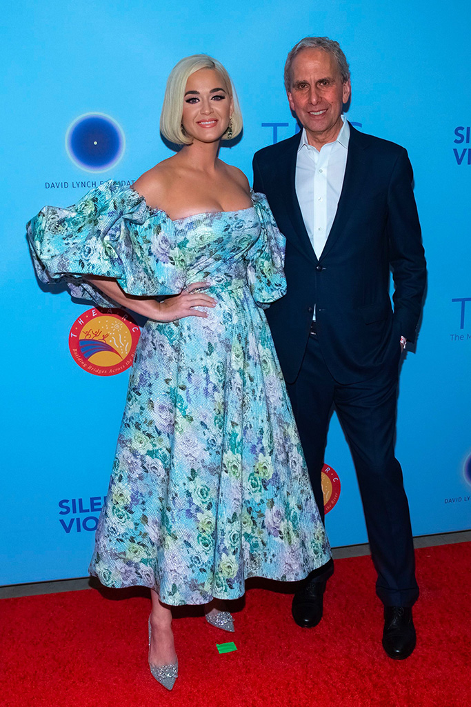 """roger vivier glitter pumps, Katy Perry, Bob Roth. Singer Katy Perry, left, and CEO of the David Lynch Foundation, Bob Roth arrive for the """"Silence the Violence"""" Benefit Concert held at The Anthem, in Washington""""Silence the Violence"""" Benefit Concert - Arrivals, Washington, USA - 11 Oct 2019"""