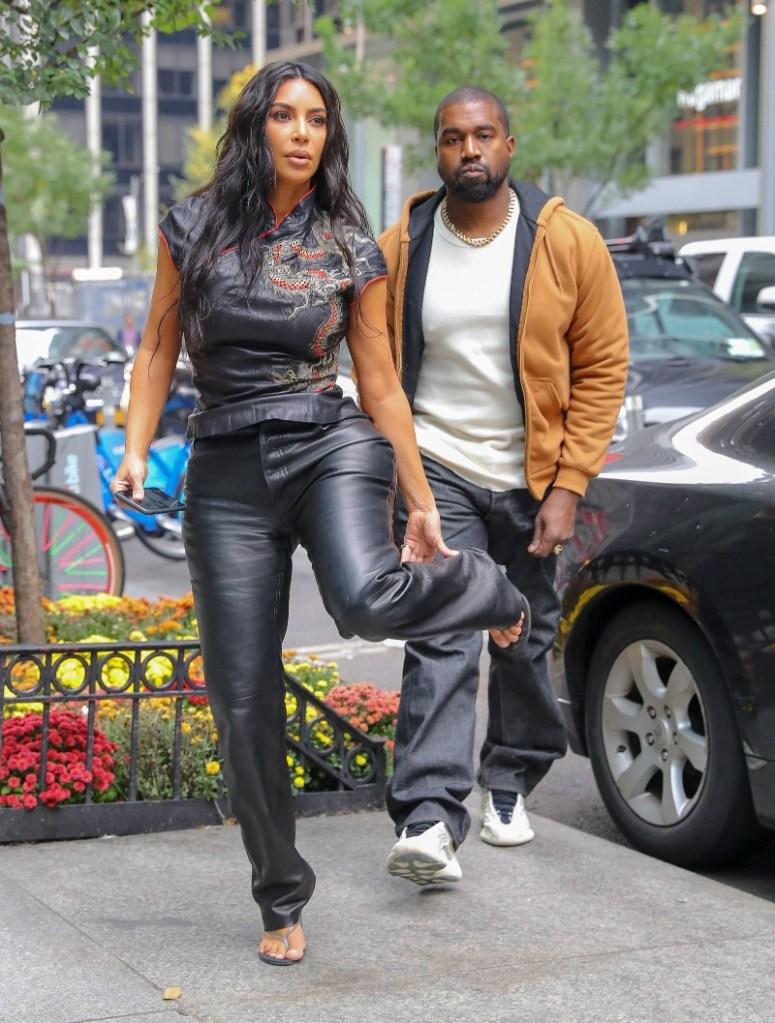 kim kardashian, kanye west, new york, milos, thong sandals, yeezy sneakers