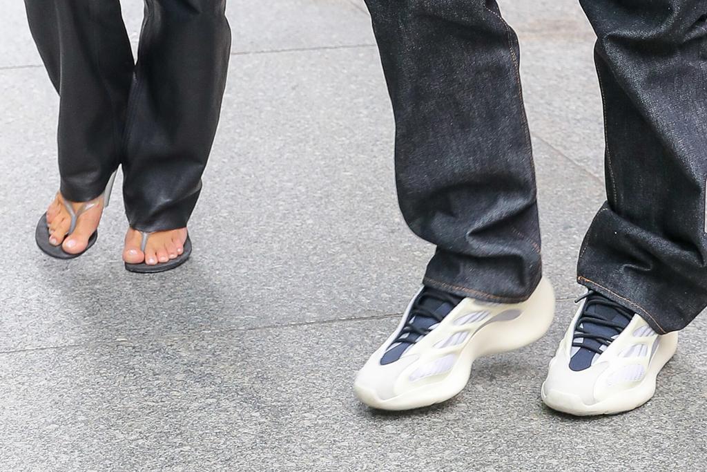 kim kardashian, kanye west,  Yeezy 700 V3, new york, milos, thong sandals, yeezy sneakers