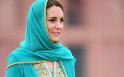 Kate Middleton wearing a turquoise shalwar