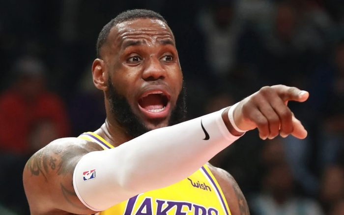 The Los Angeles Lakers' LeBron James directs his team against the Atlanta Hawks on February 12, 2019, at Philips Arena in Atlanta. (Curtis Compton/Atlanta Journal-Constitution/TNS) Newscom/(Mega Agency TagID: krtphotoslive871220.jpg) [Photo via Mega Agency]