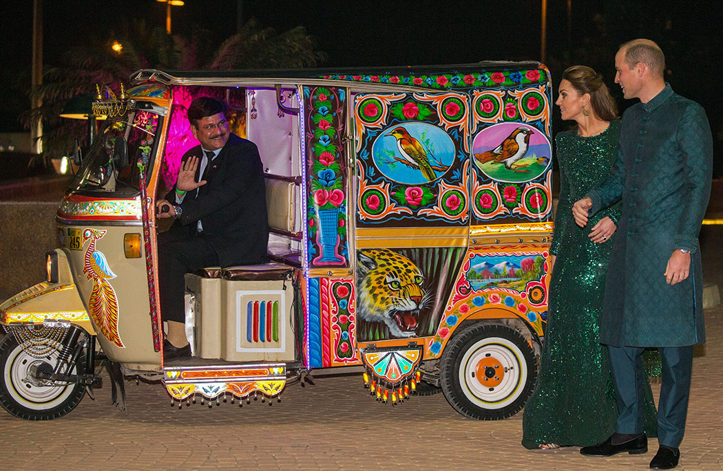 Kate Middleton and Prince William arrived at a reception in Islamabad, Pakistan last night in this brightly colored tuk tuk.