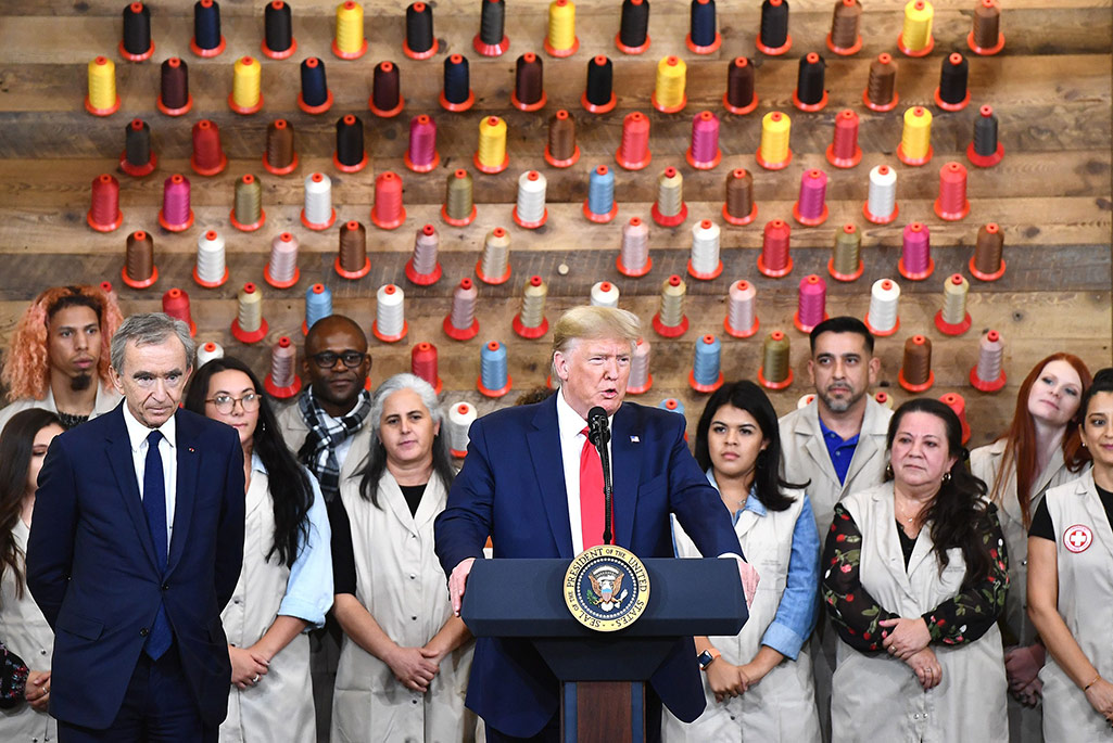 Donald Trump and LVMH's Bernard Arnault inaugurate the new Louis Vuitton factory in Texas.