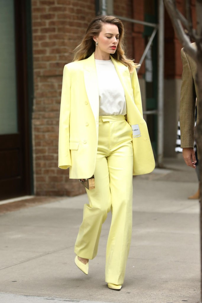 Margot Robbie, the attico, lemon yellow pantsuit, celebrity style, New York city, street style, birds of prey, October 2019