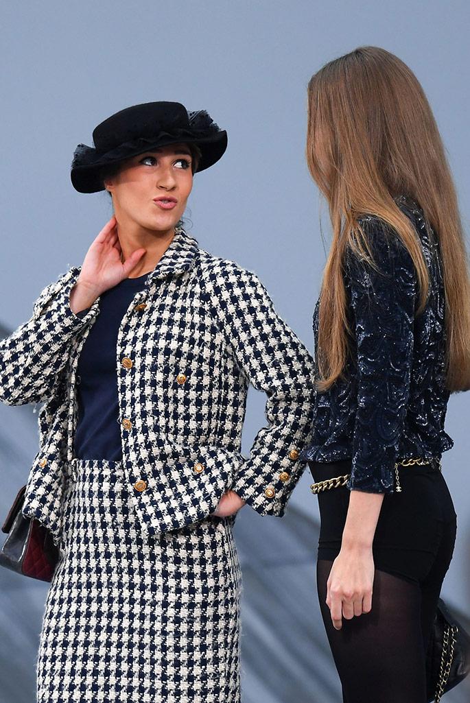 Gigi Hadid confronts Marie Benoliel on the Chanel 2020 runway.
