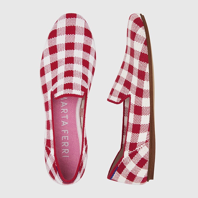 A closeup of Marta Ferri's Square Loafer for Rothy's in gingham.