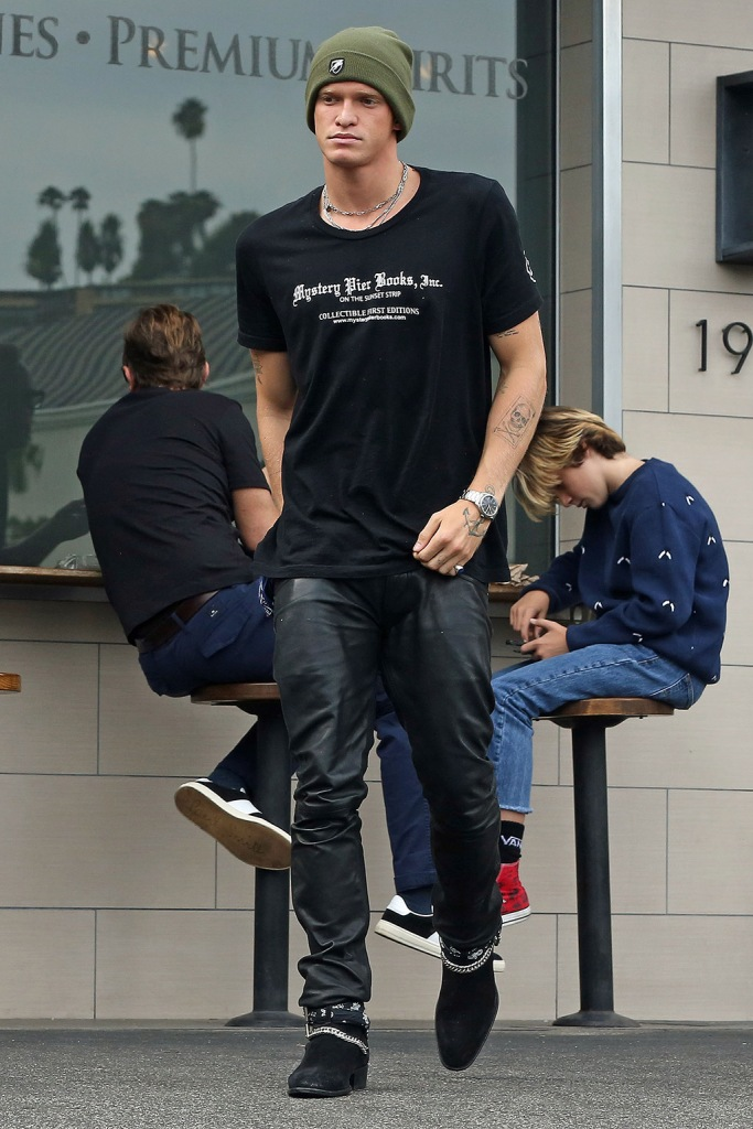 cody simpson, leather pants, boots, celebrity style, graphic t shirt, Miley Cyrus and Cody Simpson out for lunch in Los Angeles, CA. 19 Oct 2019 Pictured: Miley Cyrus and Cody Simpson out for lunch in Los Angeles, CA. Photo credit: P&P / MEGA TheMegaAgency.com +1 888 505 6342 (Mega Agency TagID: MEGA530884_003.jpg) [Photo via Mega Agency]
