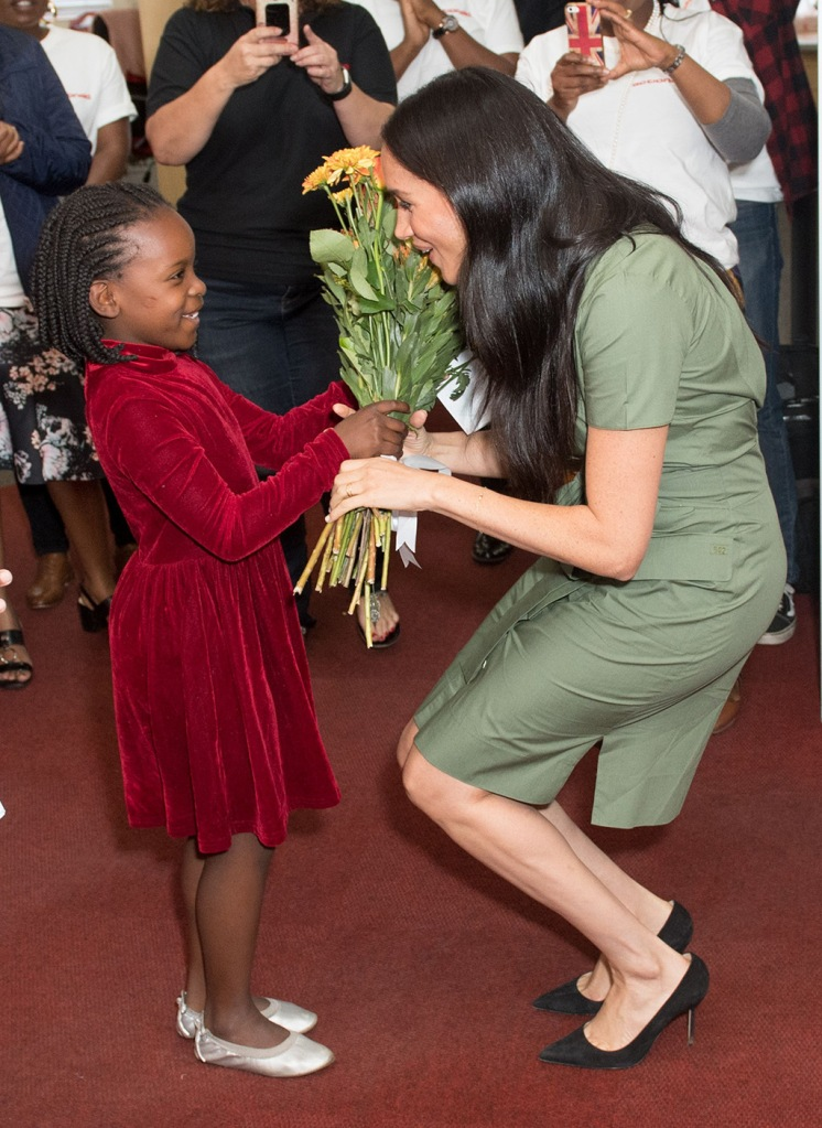 Meghan Markle, room 502 dress, manolo blahnik shoes, bb pumps, celebrity style, Duchess of Sussex visits Action Aid in Johannesburg to join a discussion about gender based violenceMeghan Duchess of Sussex visit to Africa - 01 Oct 2019