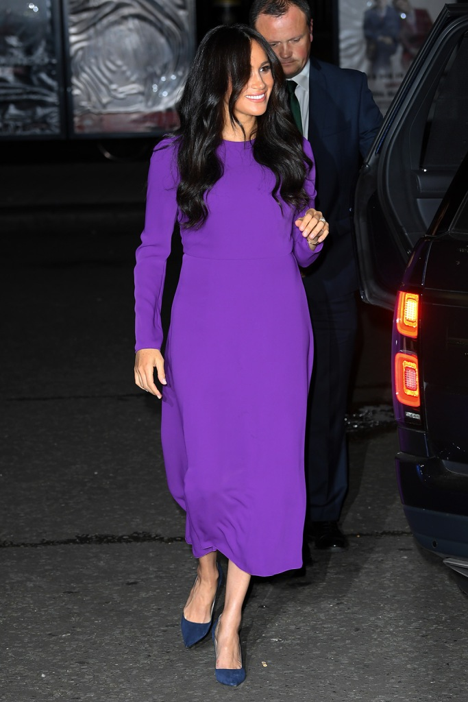 meghan markle, aritzia, babaton dress, purple dress, manolo blahnik shoes, blue suede pumps, celebrity style, royal style, british royal, Meghan Duchess of SussexOne Young World Summit opening ceremony, Royal Albert Hall, London, UK - 22 Oct 2019The One Young World Summit is a global forum for young leaders, bringing together 2,000 young people from over 190 countries around the world to accelerate social impact. One Young World's mission is to create the next generation of more responsible and effective leadership.