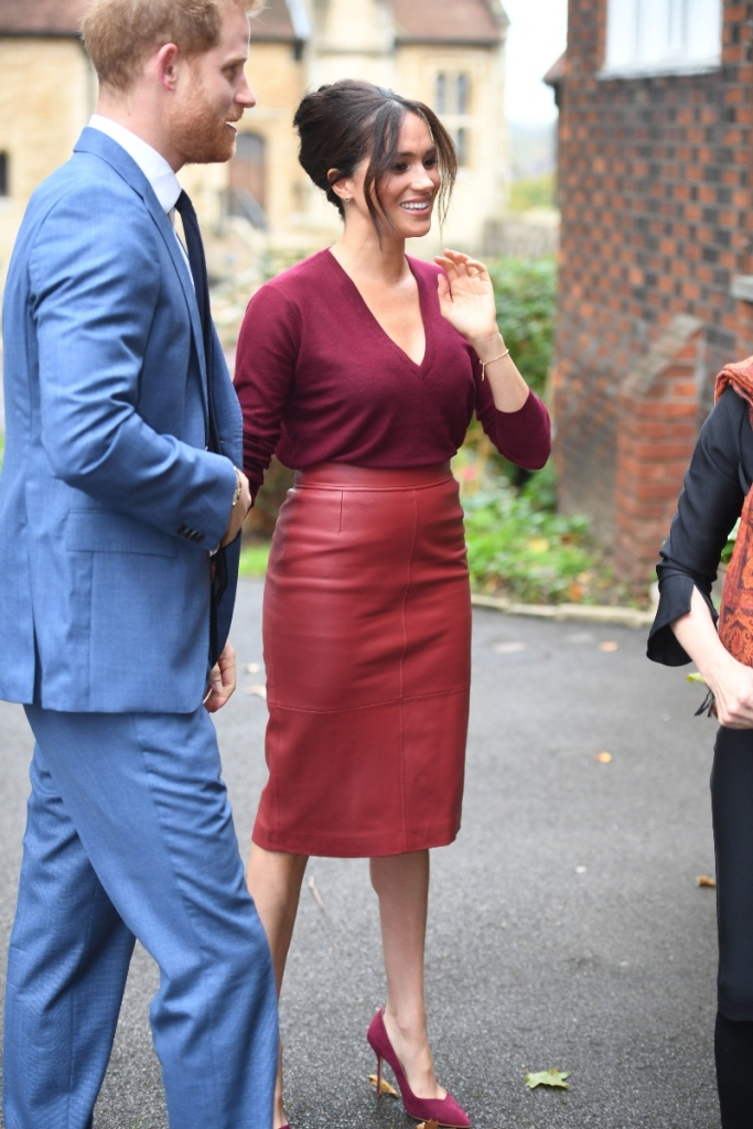 meghan markle, joseph sweater, red, leather skirt, red heels, burgundy, roundtable, gender equality, prince harry