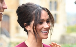 meghan markle, red, leather skirt, red