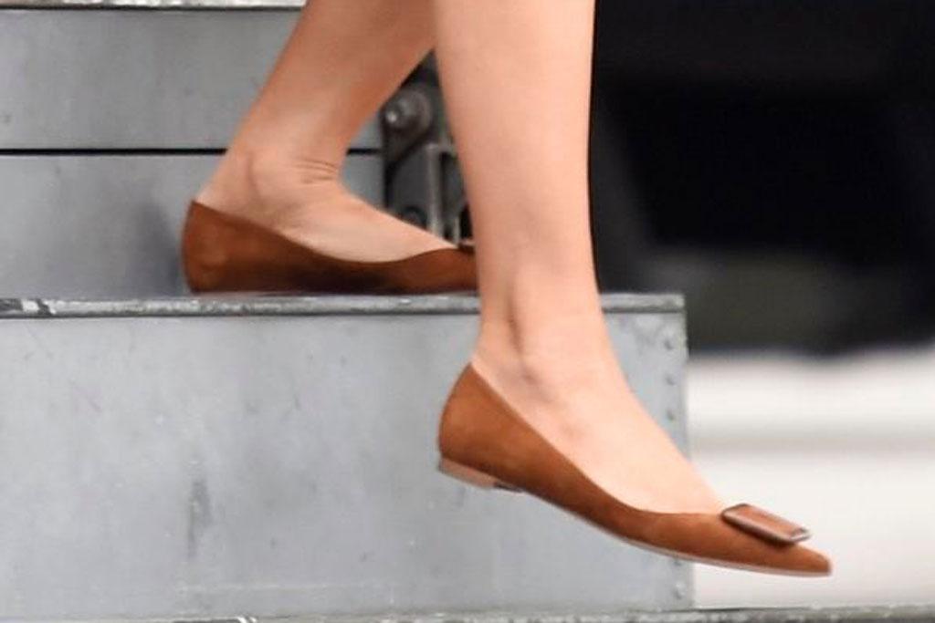 Melania Trump, roger vivier, brown suede flats, celebrity style, shoe style, october 2019, south carolina, feet,
