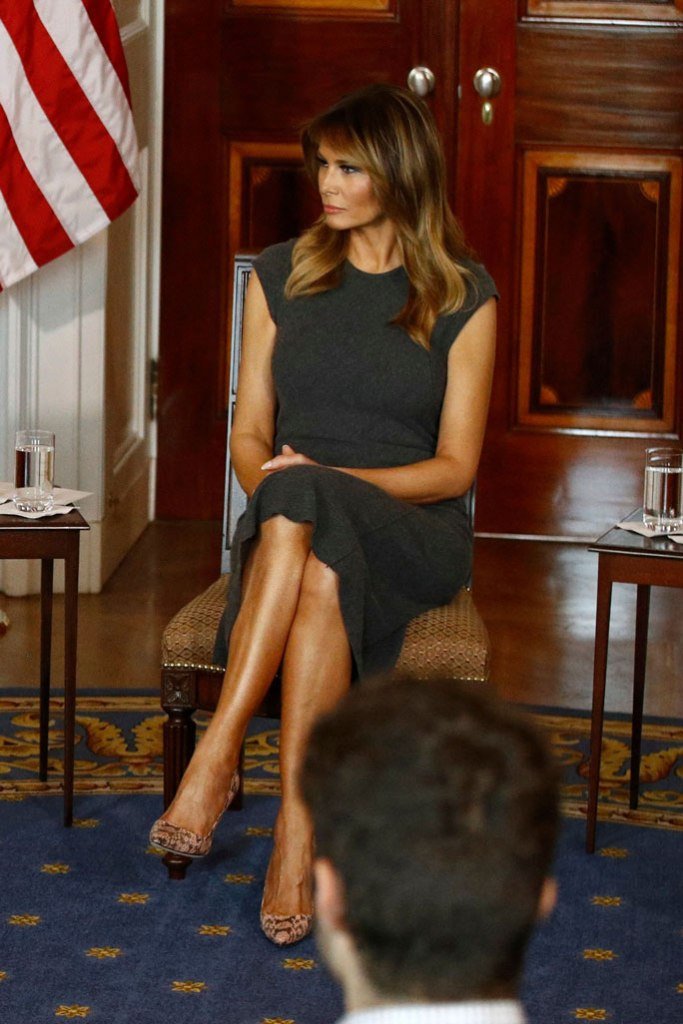 Melania Trump, manolo blahnik bb pumps, celebrity style, python shoes, stilettos, White House, vaping panel, be best, October 2019
