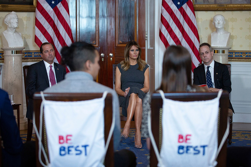 From left to right: United States Secretary of Health and Human Services (HHS) Alex Azar, First lady Melania Trump and Chief Marketing and Strategy Officer of the Truth Initiative Eric Asche listen to youth from the Truth Initiative, ages 13 to 18.First Lady Melania Trump hosts a Listening Session with Youth from the Truth Initiative, The White House, Washington DC, USA - 09 Oct 2019