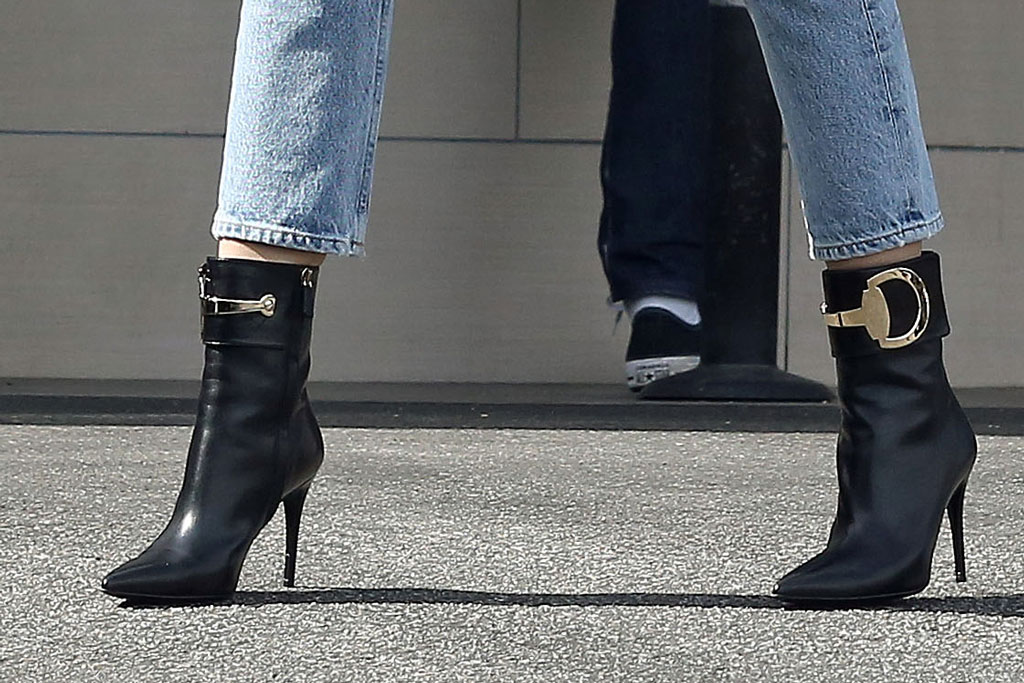 Miley Cyrus, celebrity style, shoe style, black boots, stilettos, booties, ankle boots,