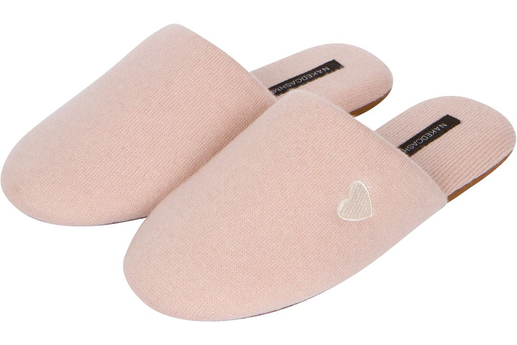 naked cashmere slippers, bca month slippers, pink slippers