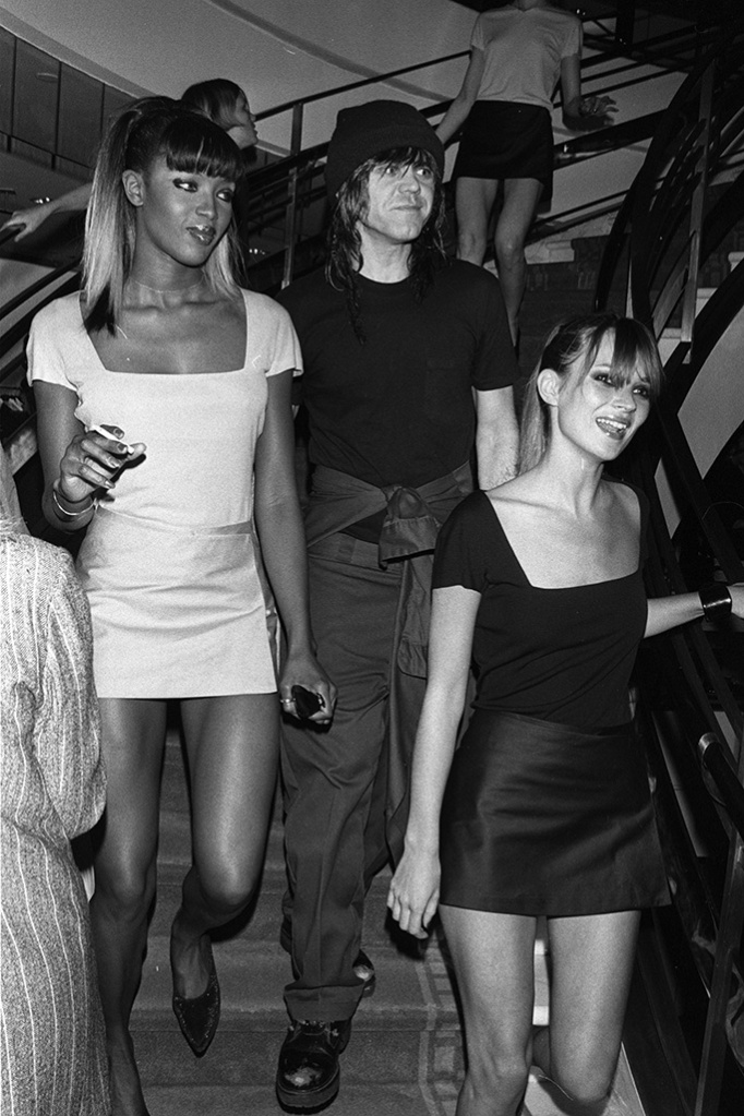 Naomi Campbell, Stephen Sprouse and Kate Moss wearing Stephen Sprouse at a reception party for Sprouse at Barneys' downtown New York store, barneys new york, 1990s barneys