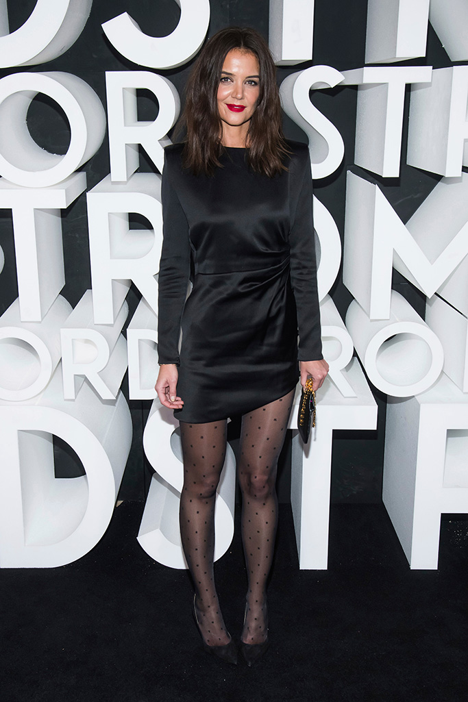 Katie Holmes, tights, ysl, saint laurent dress, MULTI-BUTTON DRAPED MINI DRESS IN SILK SATIN DOTTEN VOILE TIGHTS, attends the Nordstrom NYC Flagship store opening party, in New YorkNordstrom NYC Flagship Opening Party, New York, USA - 22 Oct 2019