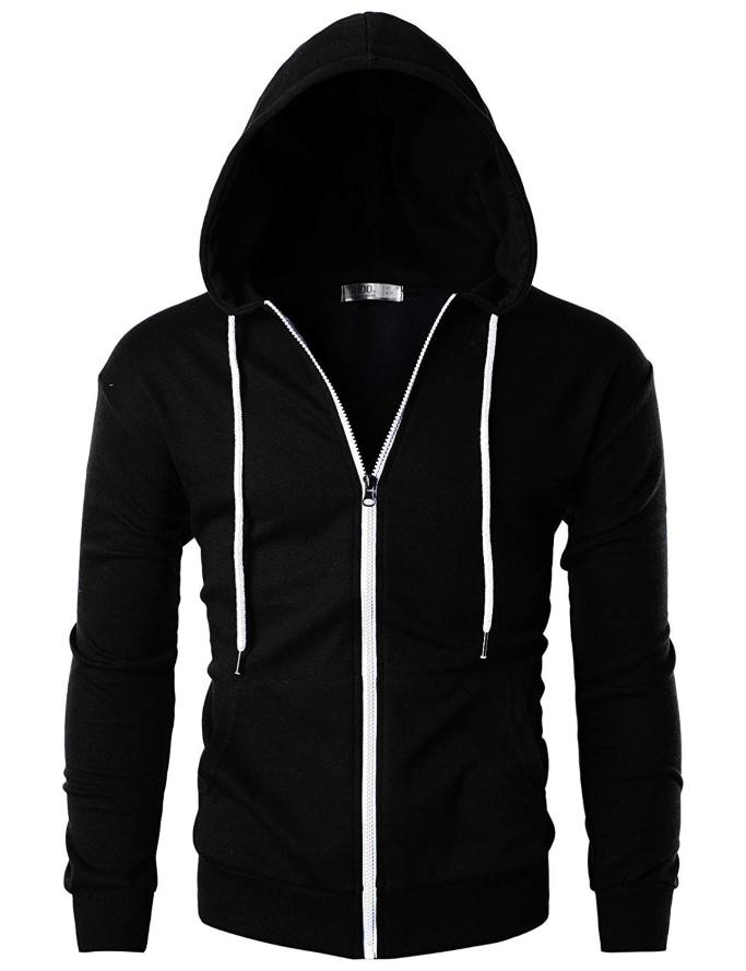 ohoo men's lightweight zip-up hoodie