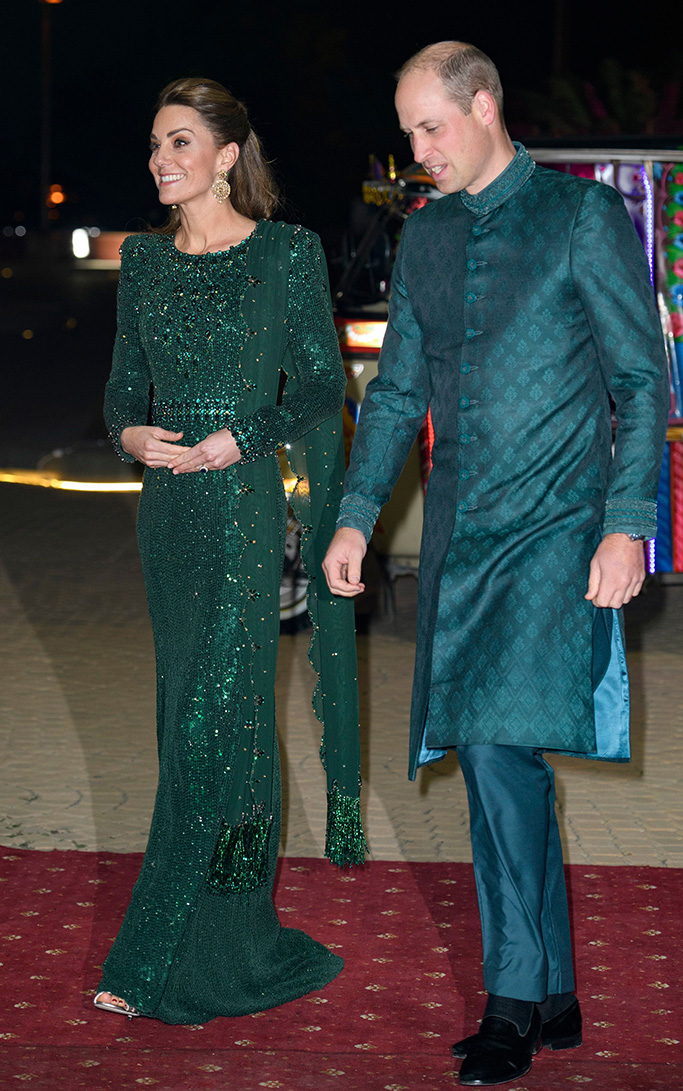 Naushemian sherwani dress, arthur sleep slippers, shoes, jenny peckham green dress, jimmy choo sandals, Catherine Duchess of Cambridge and Prince Harry during a reception hosted by the British High Commissioner to Pakistan in IslamabadPrince William and Catherine Duchess of Cambridge visit to Pakistan - 15 Oct 2019