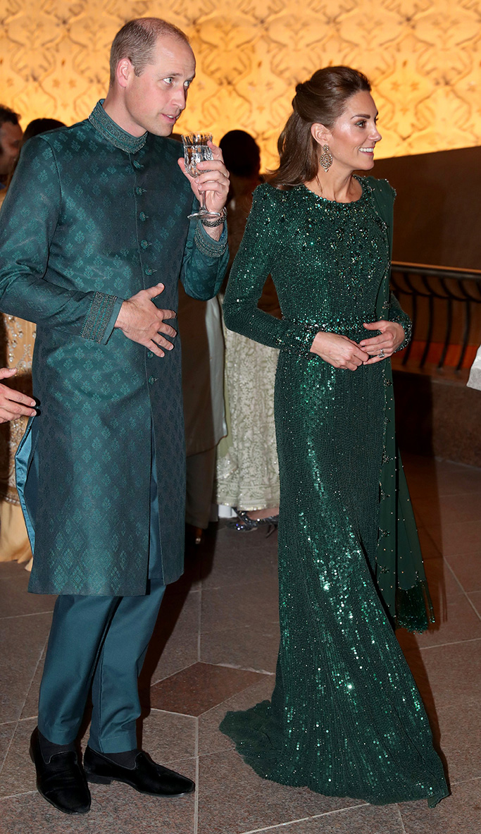 Naushemian sherwani dress, arthur sleep slippers, shoes, jenny peckham green dress, jimmy choo sandals, Prince William and Catherine Duchess of Cambridge speak with guests as they attend a special reception hosted by the British High Commissioner Thomas Drew, at the Pakistan National Monument in Islamabad, during day two of their royal tour.Prince William and Catherine Duchess of Cambridge visit to Pakistan - 15 Oct 2019