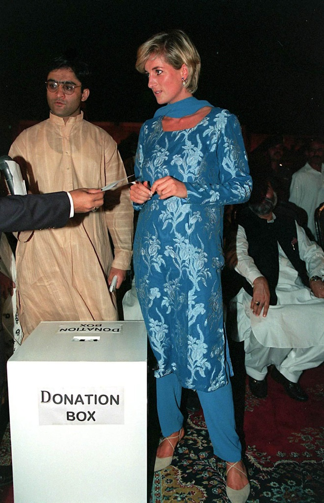 PRINCESS DIANA, celebrity style, blue florals, kitten heels, IN PAKISTANBritish royal tour of Pakistan - May 1997