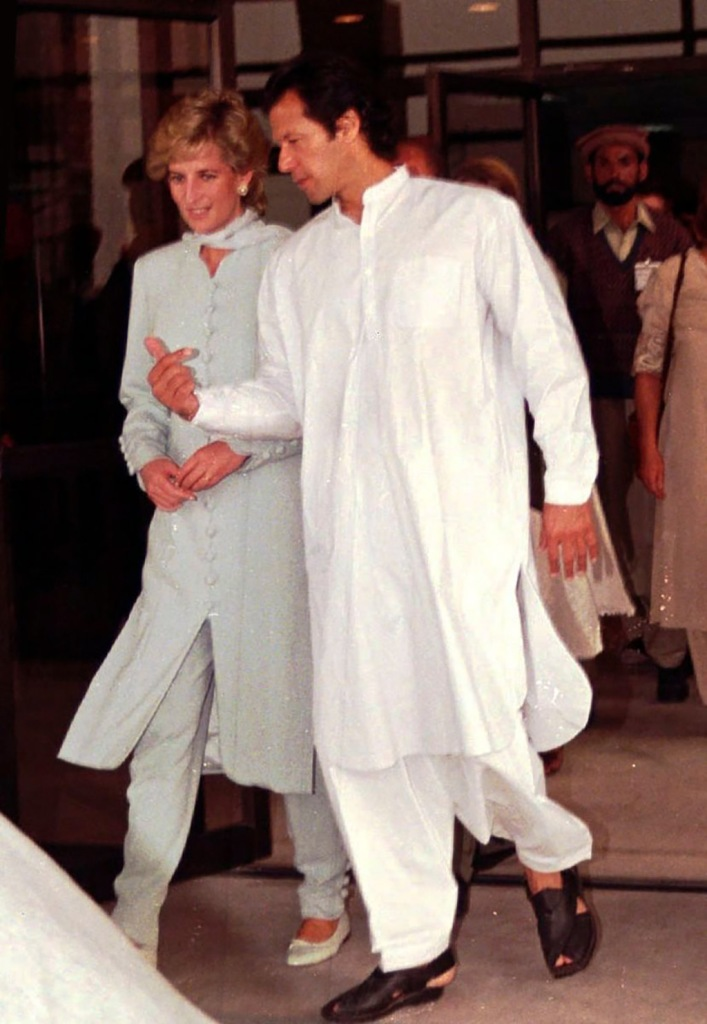 Princess Diana , celebrity style, baby blue, Kurta, pants dress, flats, 1996, KHAN. Diana, Princess of Wales and Imran Khan, right, former Pakistani cricketer, visits a cancer hospital in Lahore, Pakistan. He won the cricket World Cup for Pakistan in 1992 when the country's prime minister was Nawaz Sharif. Twenty six years later the charismatic Imran Khan is all set to become the first cricketer in the world to be elected as a country's prime minister in electionsElections Khan, LAHORE, Pakistan - 22 Feb 1996