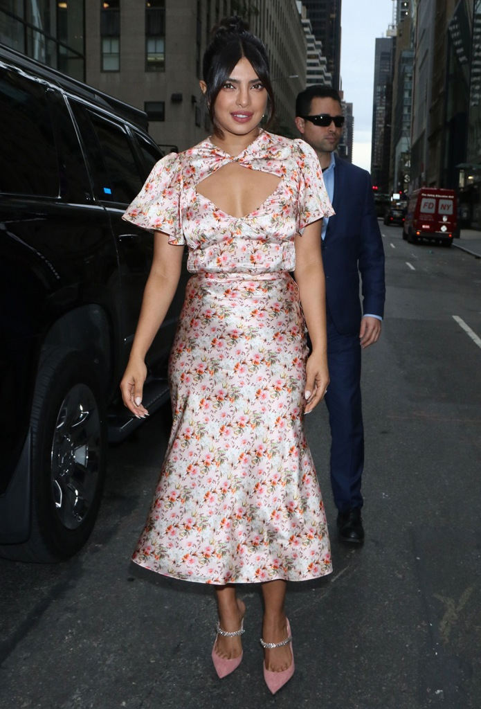 Priyanka Chopra, markarian spring 2020, floral dress, jimmy Choo shoes, crystal pumps, pink suede heels, Jonas'Today' TV show, New York, USA - 08 Oct 2019