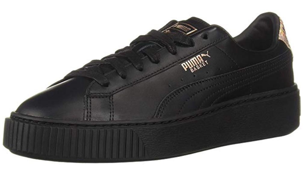 puma basket, women's sneakers, shoes, black, gold logo