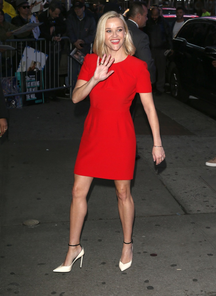 Reese Witherspoon, red dress, minidress, legs, celebrity style, shoe style, new york city, legs, blonde hair, at GMA in New York.Pictured: Reese WitherspoonRef: SPL5124842 281019 NON-EXCLUSIVEPicture by: SplashNews.comSplash News and PicturesLos Angeles: 310-821-2666New York: 212-619-2666London: +44 (0)20 7644 7656Berlin: +49 175 3764 166photodesk@splashnews.comWorld Rights